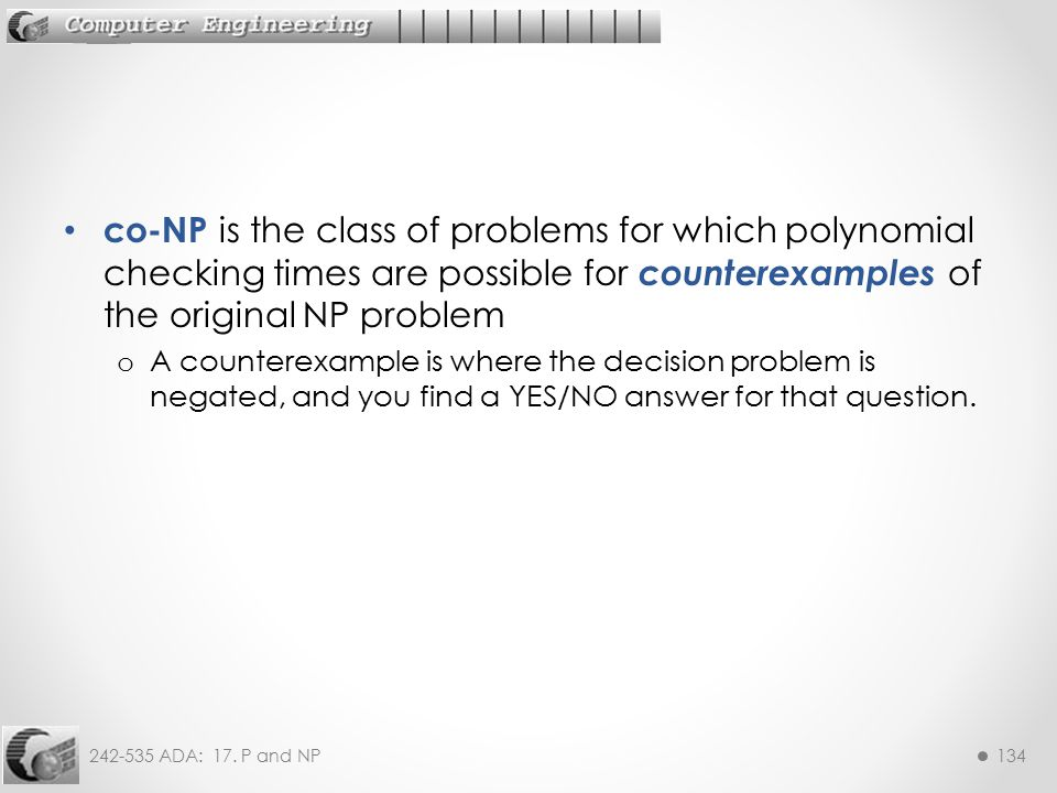 co-NP is the class of problems for which polynomial checking times are possible for counterexamples of the original NP problem
