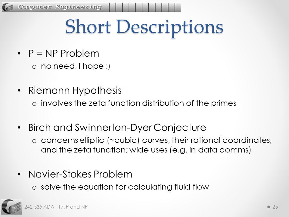 Short Descriptions P = NP Problem Riemann Hypothesis