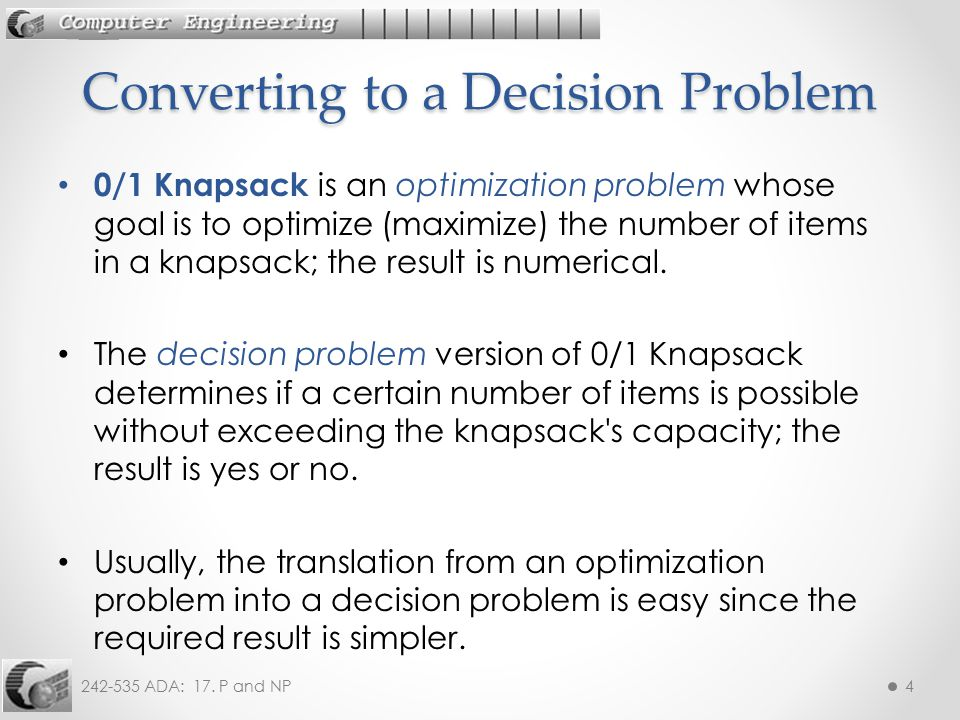 Converting to a Decision Problem