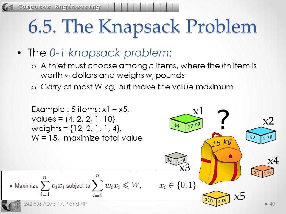 6.5. The Knapsack Problem The 0-1 knapsack problem: x1 x2 x4 x3 x5