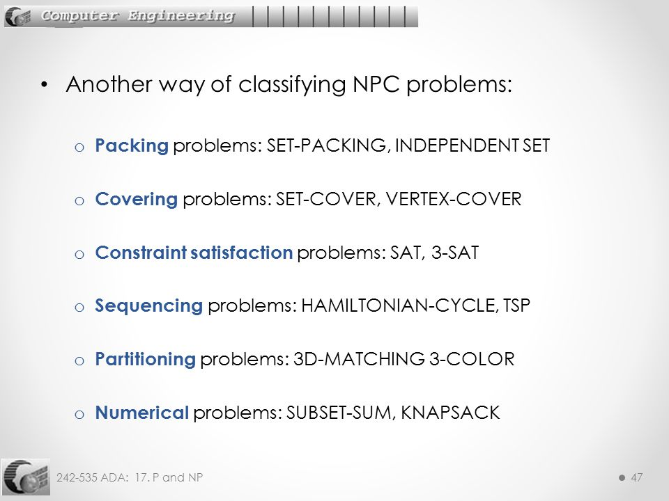Another way of classifying NPC problems: