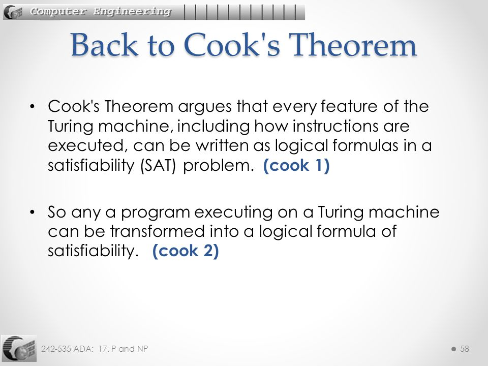 Back to Cook s Theorem
