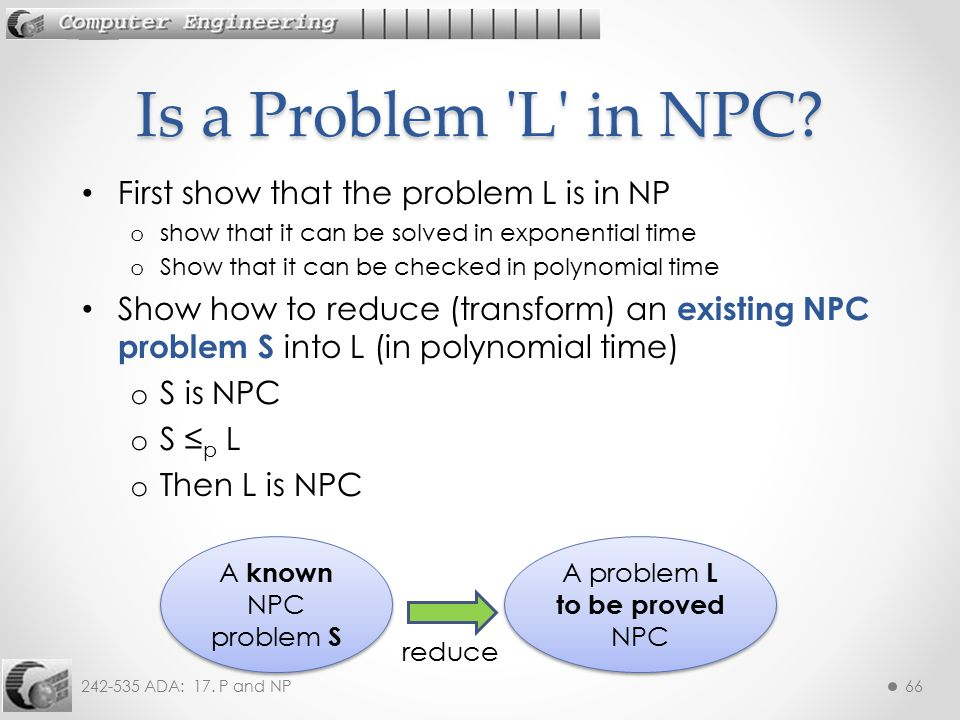 A problem L to be proved NPC