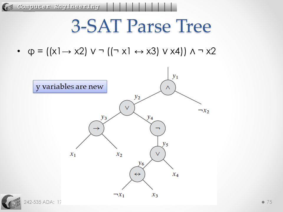 3-SAT Parse Tree φ = ((x1→ x2) ∨ ¬ ((¬ x1 ↔ x3) ∨ x4)) ∧ ¬ x2