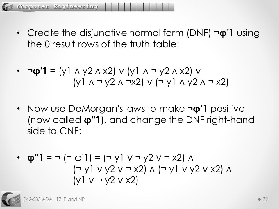 Create the disjunctive normal form (DNF) ¬φ 1 using the 0 result rows of the truth table: