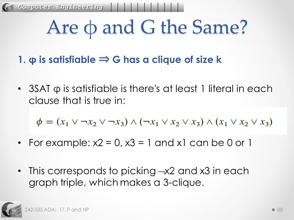 Are φ and G the Same 1. φ is satisfiable ⇒ G has a clique of size k