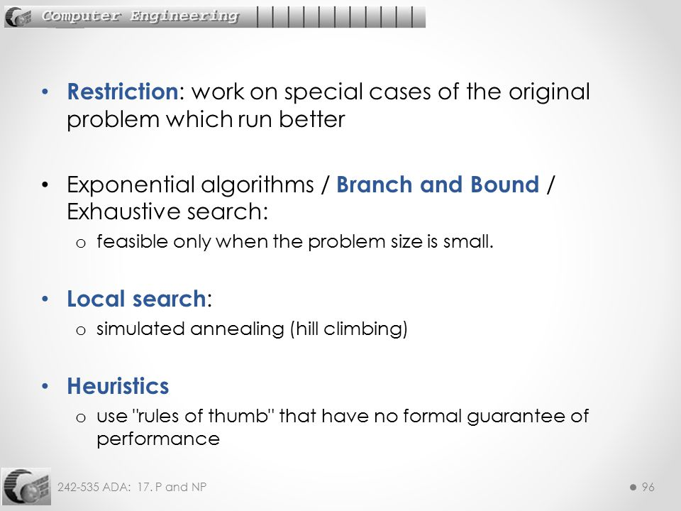 Exponential algorithms / Branch and Bound / Exhaustive search: