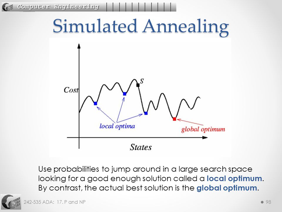 Simulated Annealing Use probabilities to jump around in a large search space looking for a good enough solution called a local optimum.