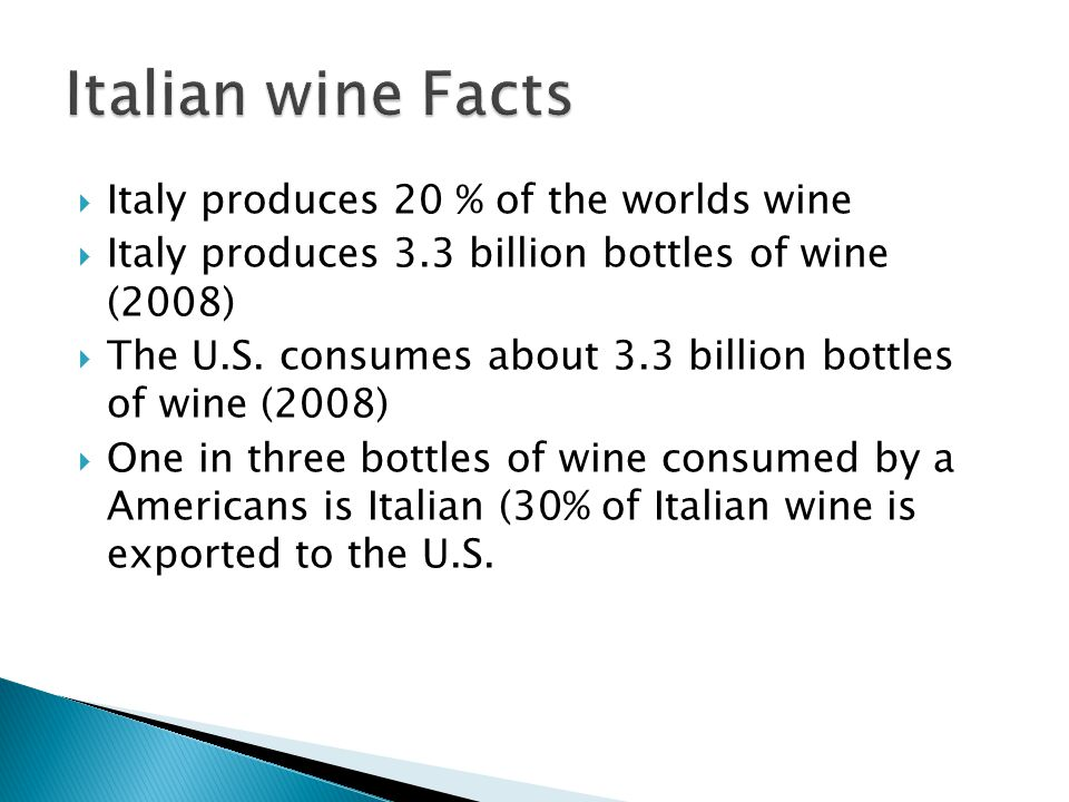 Italian wine Facts Italy produces 20 % of the worlds wine
