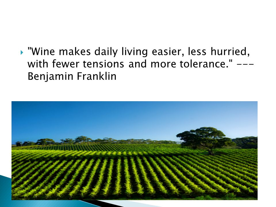 Wine makes daily living easier, less hurried, with fewer tensions and more tolerance. --- Benjamin Franklin
