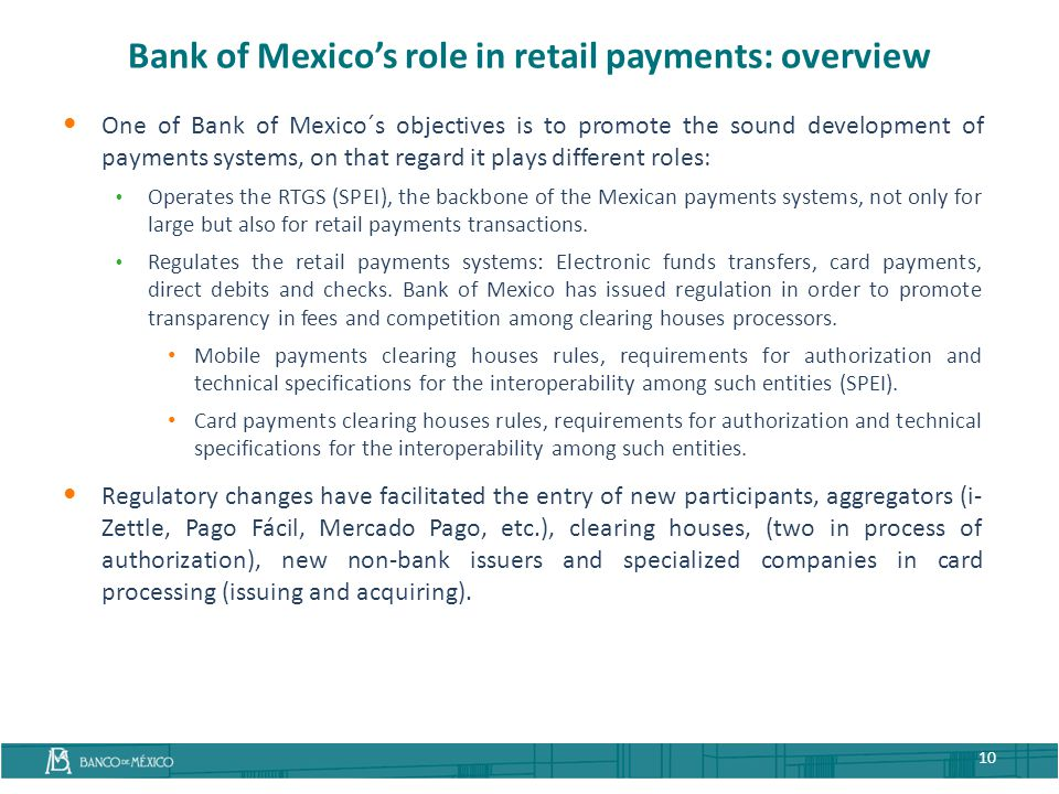 Bank of Mexico's role in retail payments: overview