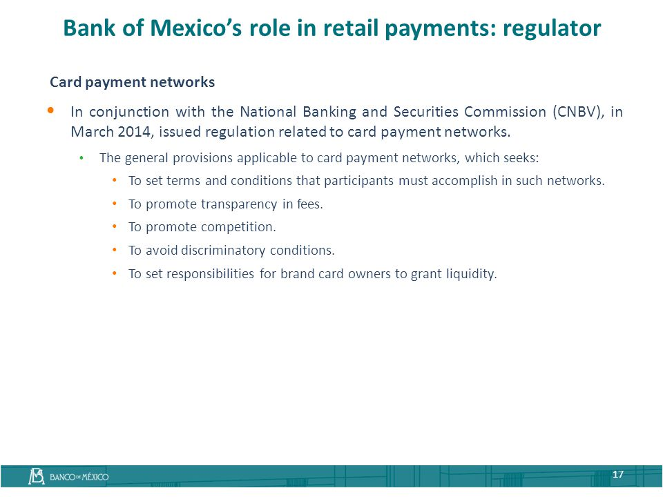 Bank of Mexico's role in retail payments: regulator