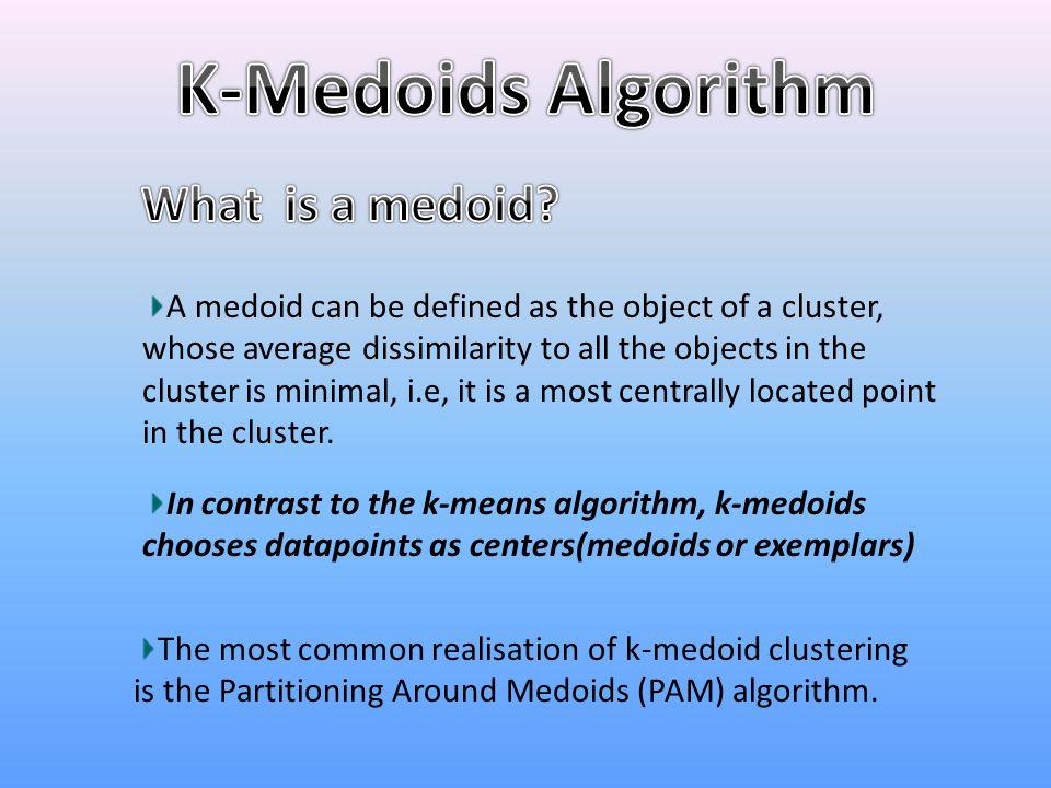 K-Medoids Algorithm What is a medoid
