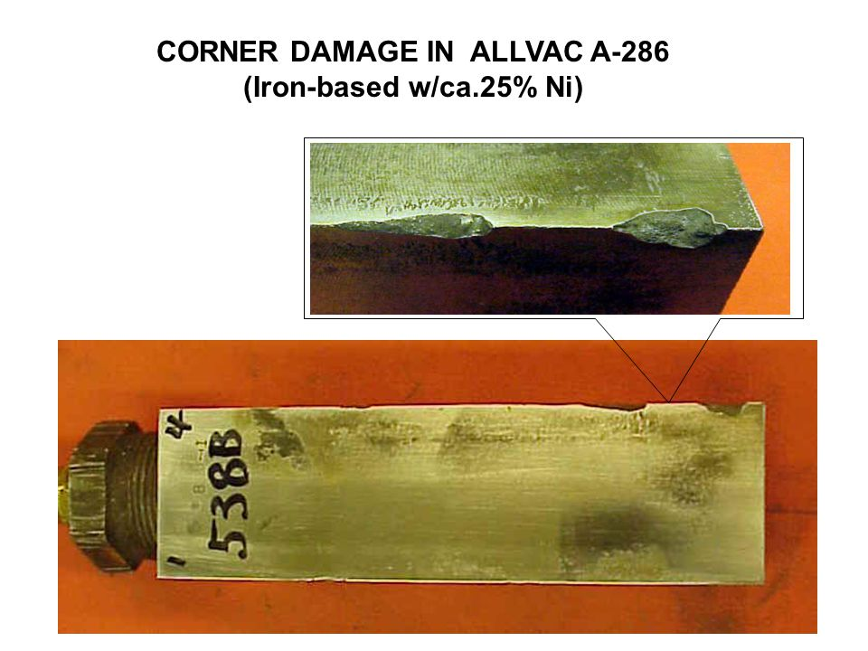 CORNER DAMAGE IN ALLVAC A-286
