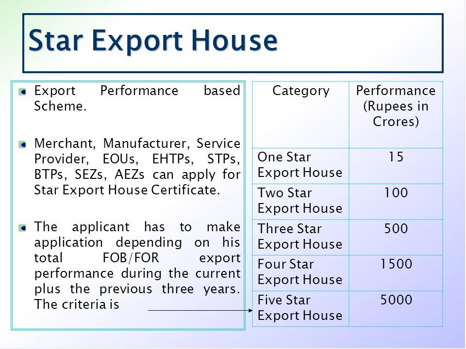 Star Export House Export Performance based Scheme.