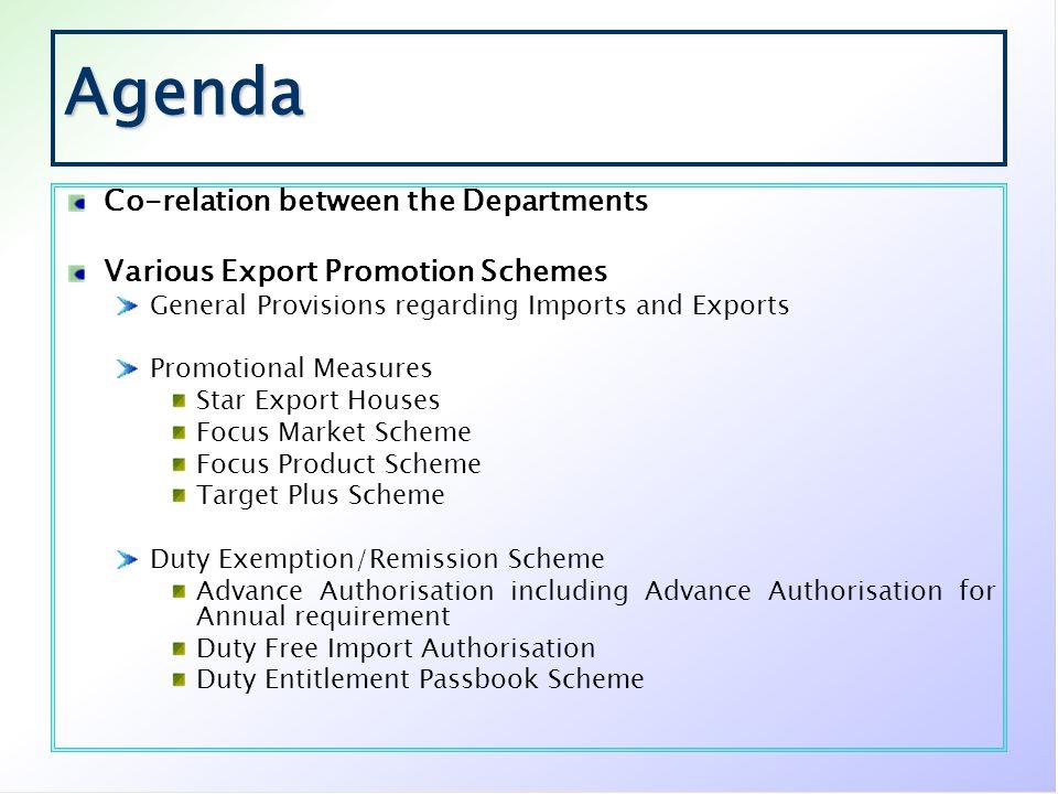 Agenda Co-relation between the Departments