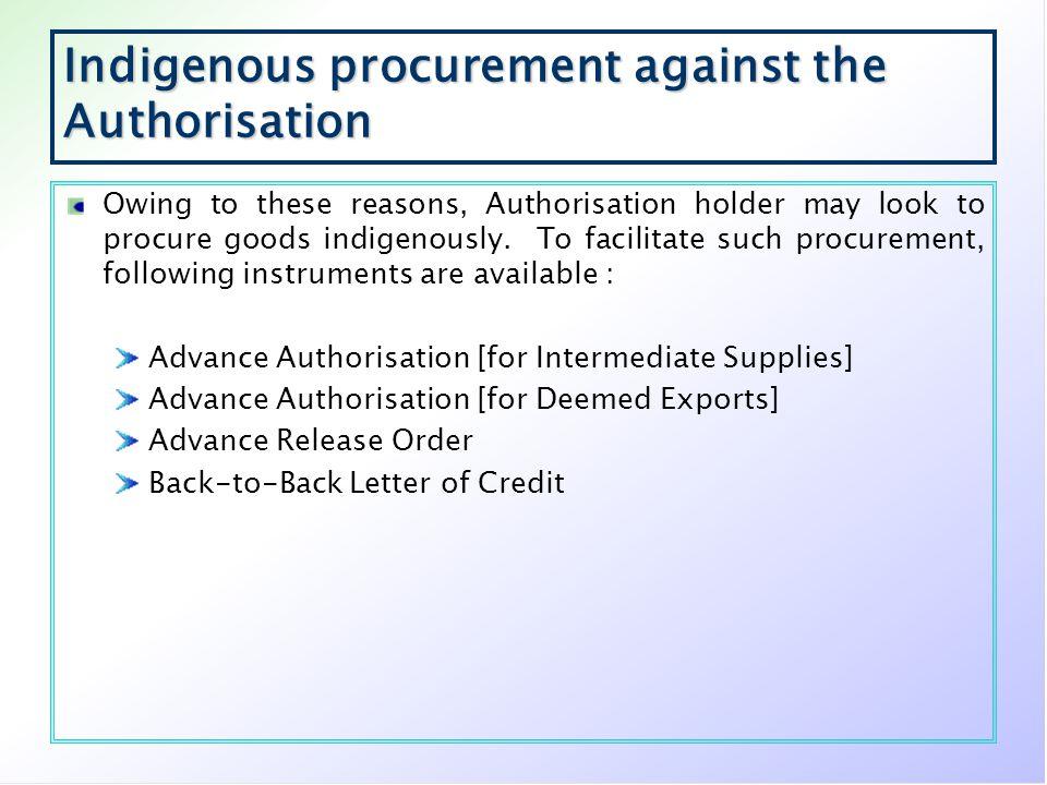 Indigenous procurement against the Authorisation