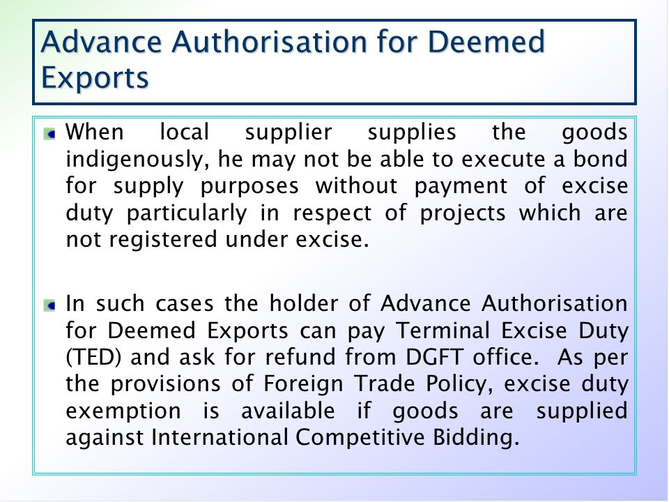 Advance Authorisation for Deemed Exports