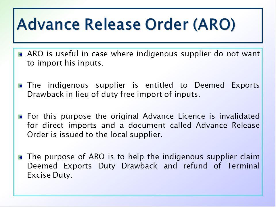 Advance Release Order (ARO)