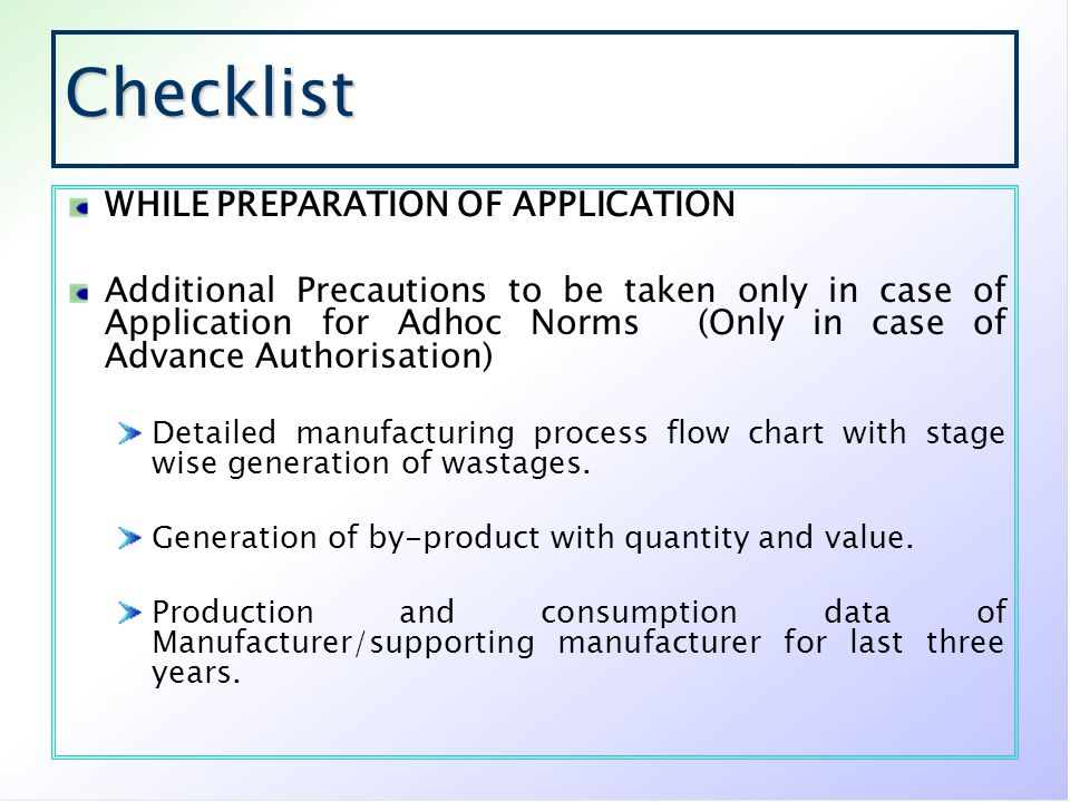 Checklist WHILE PREPARATION OF APPLICATION