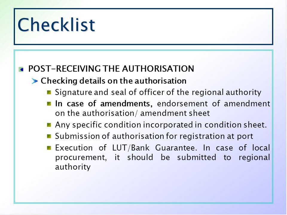 Checklist POST-RECEIVING THE AUTHORISATION