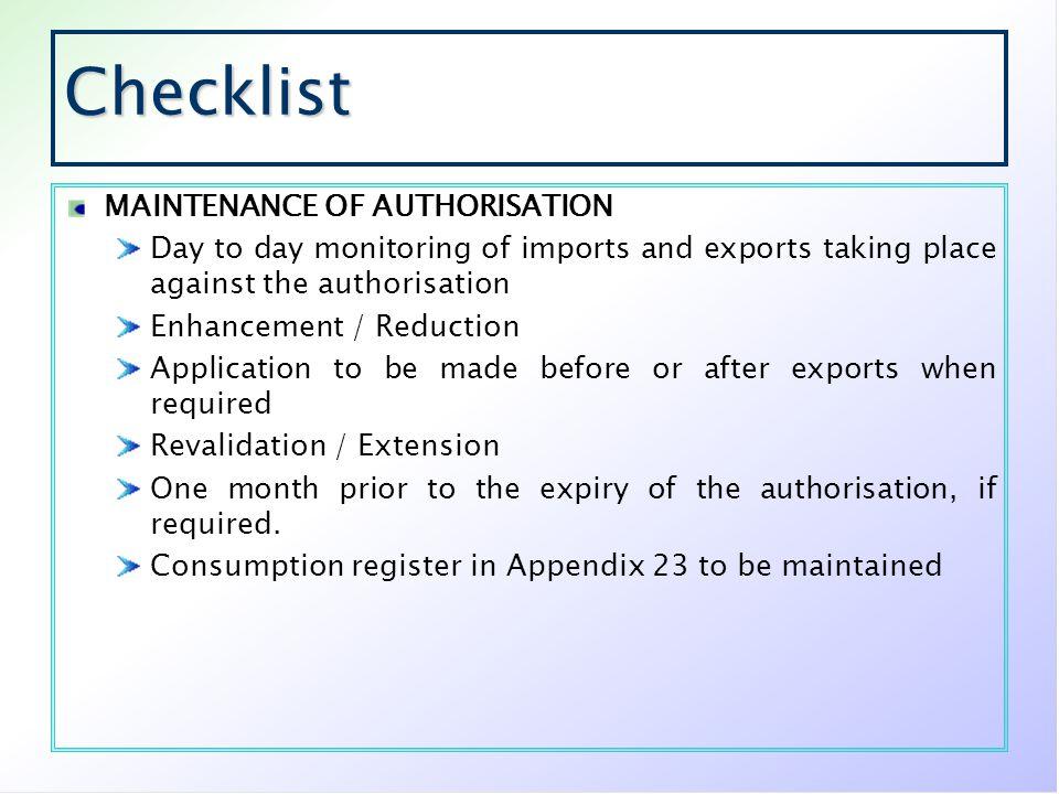 Checklist MAINTENANCE OF AUTHORISATION