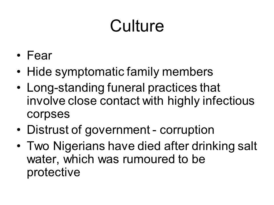 Culture Fear Hide symptomatic family members