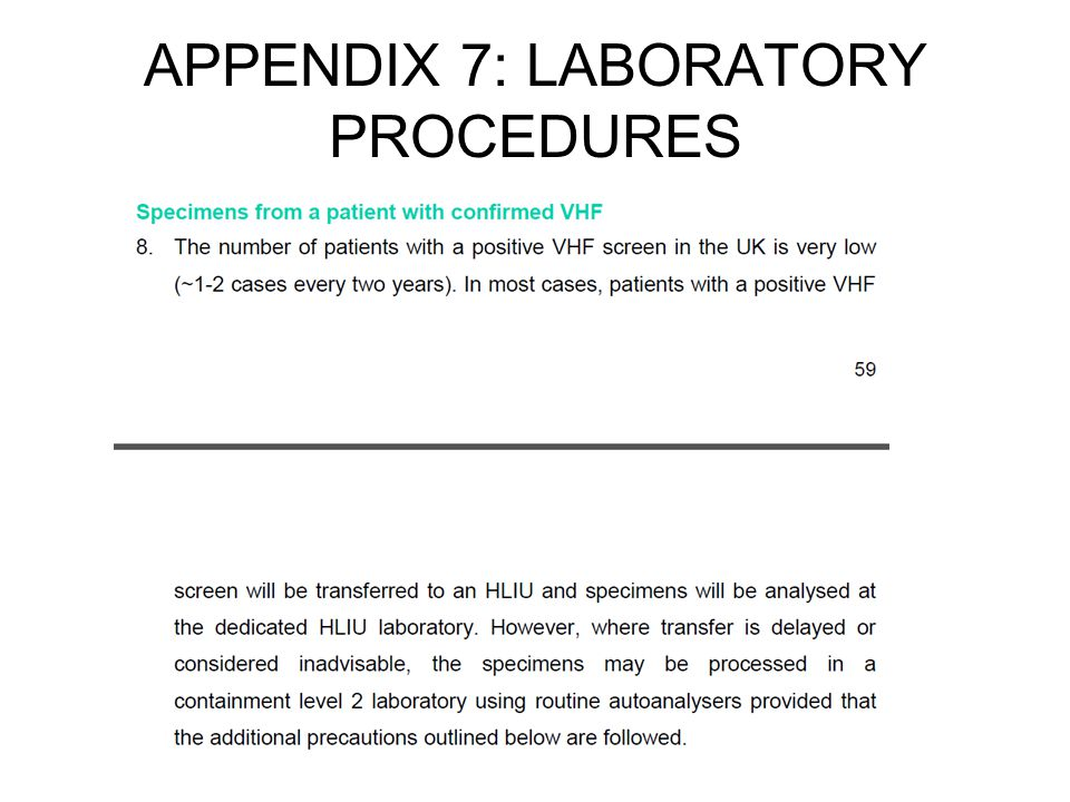 APPENDIX 7: LABORATORY PROCEDURES