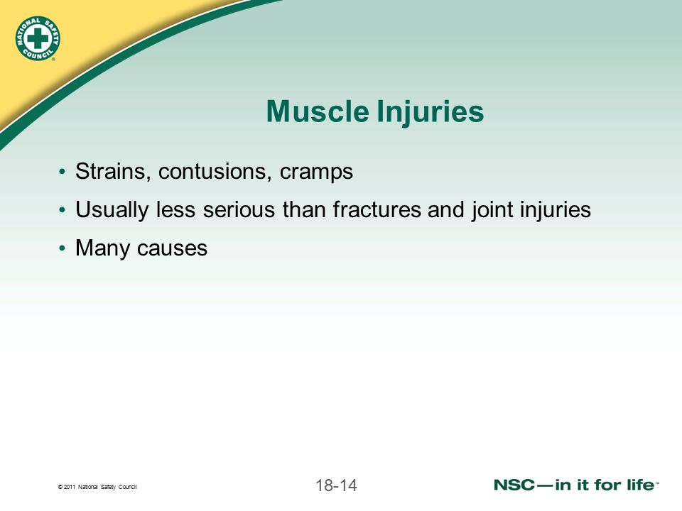 Muscle Injuries Strains, contusions, cramps