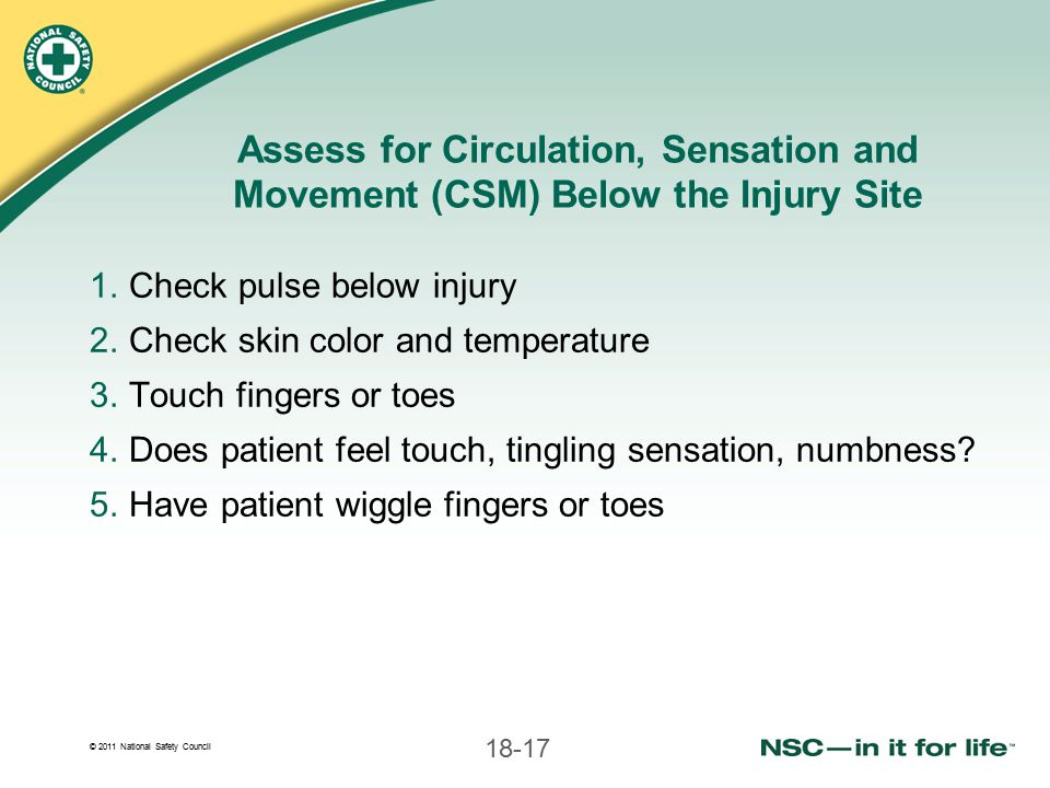 Assess for Circulation, Sensation and Movement (CSM) Below the Injury Site