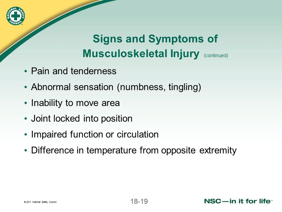 Signs and Symptoms of Musculoskeletal Injury (continued)