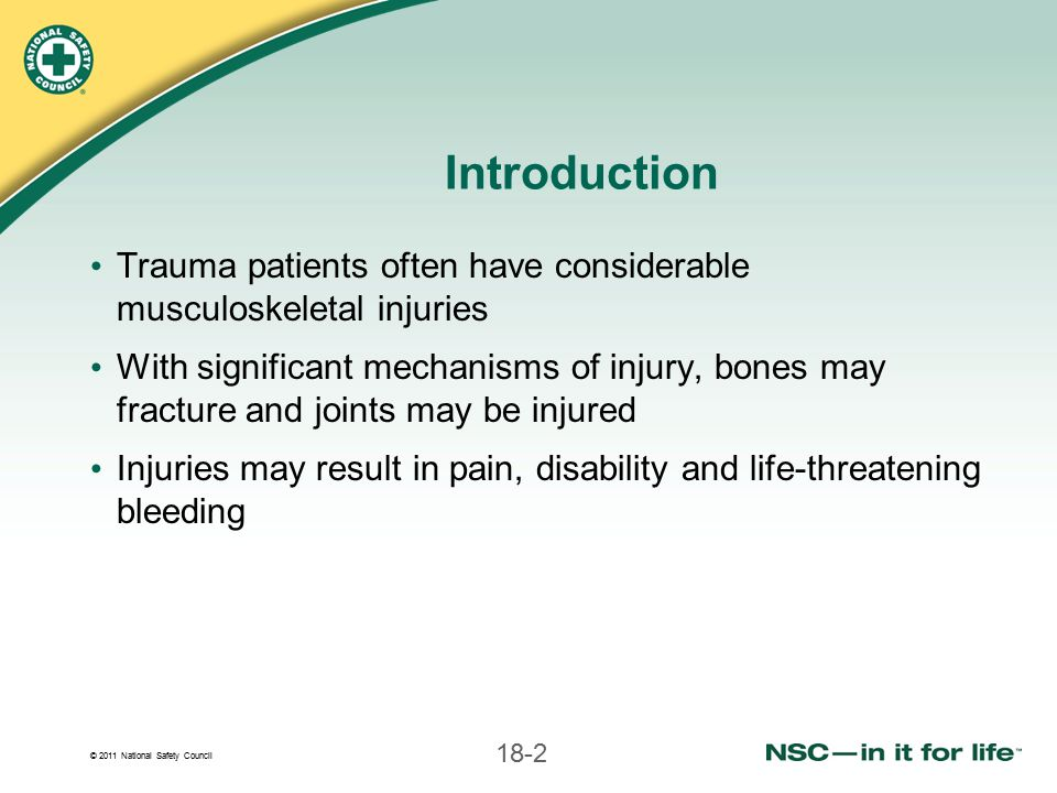 Introduction Trauma patients often have considerable musculoskeletal injuries.