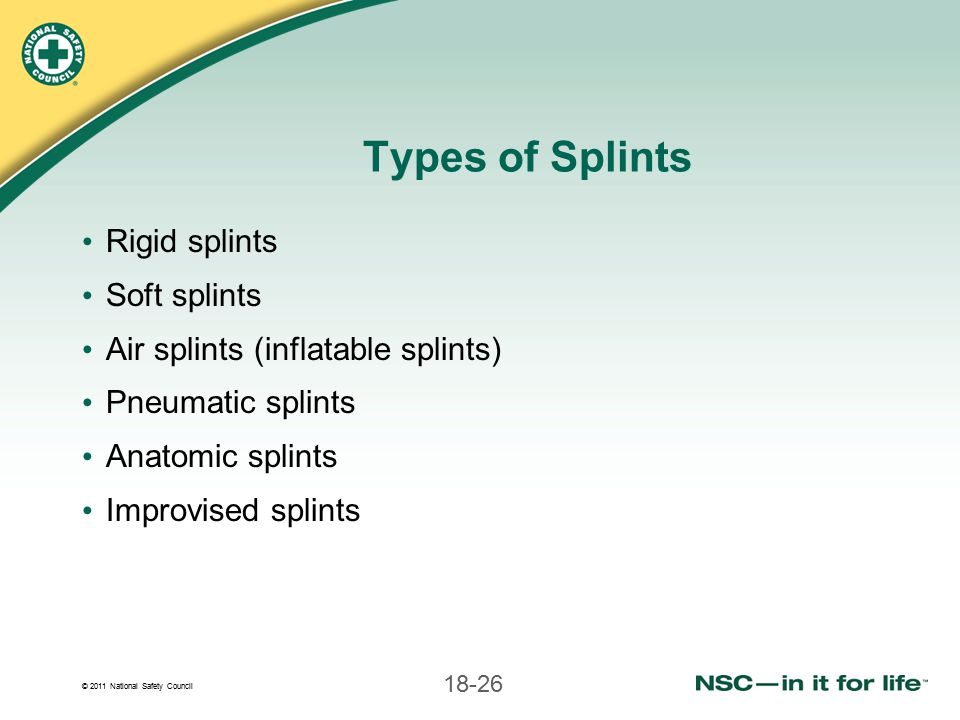 Types of Splints Rigid splints Soft splints