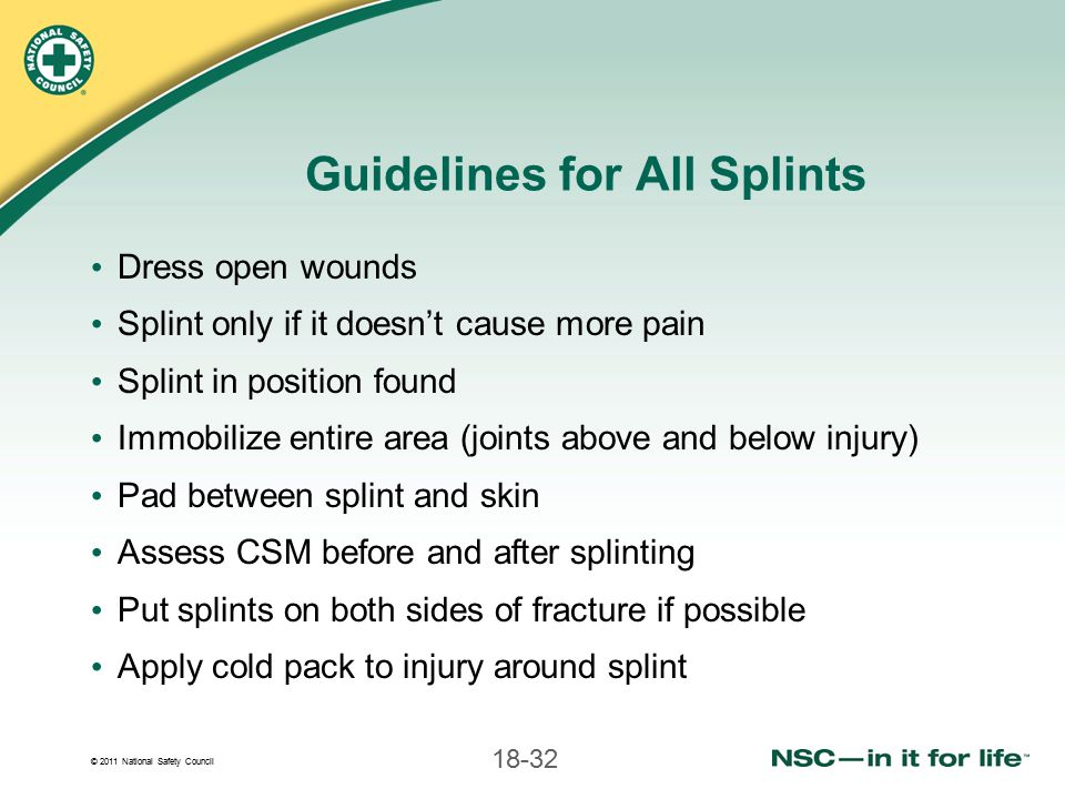Guidelines for All Splints