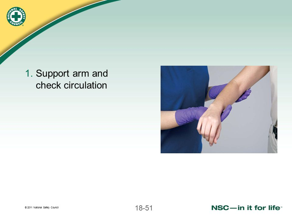Support arm and check circulation