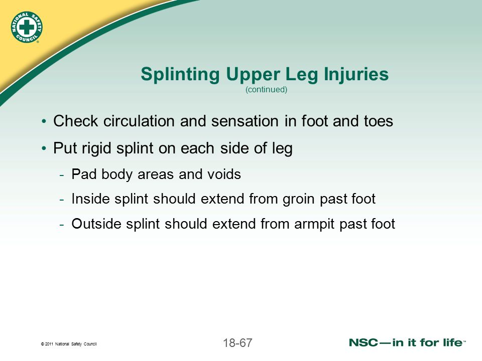 Splinting Upper Leg Injuries (continued)