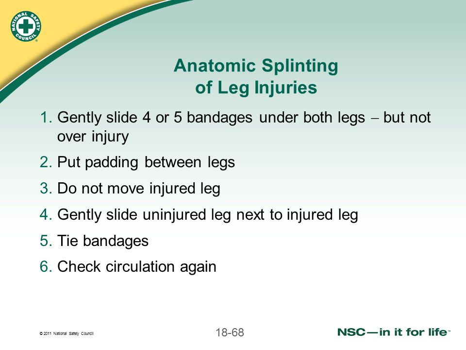 Anatomic Splinting of Leg Injuries