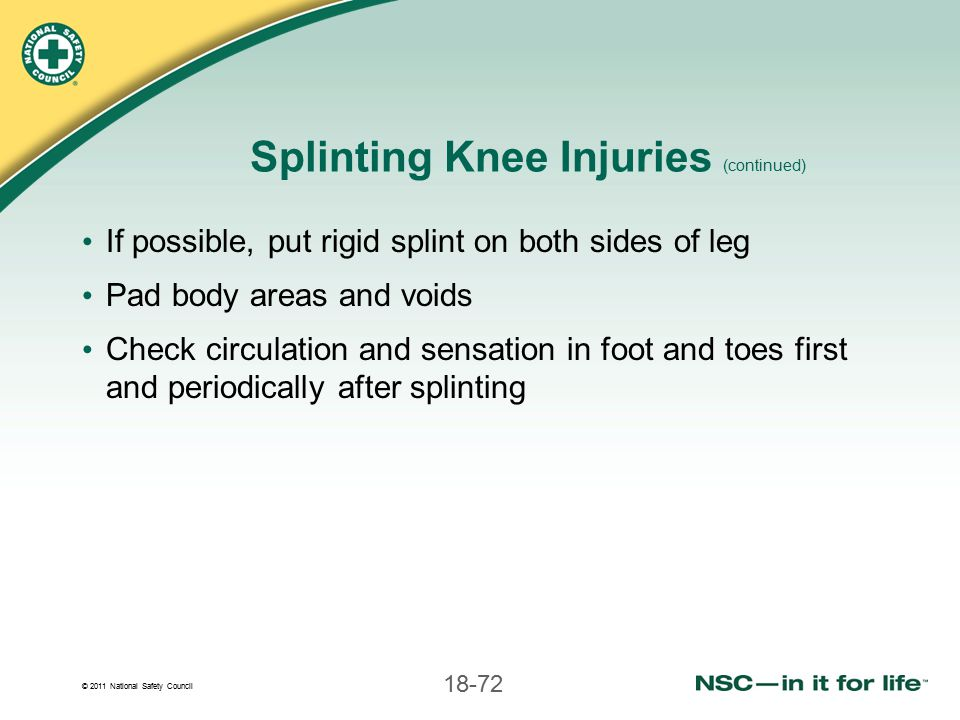 Splinting Knee Injuries (continued)