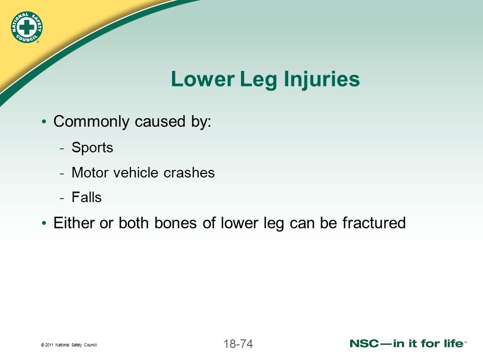 Lower Leg Injuries Commonly caused by: