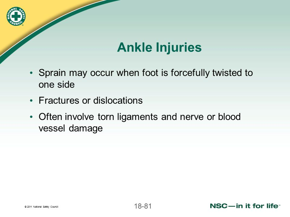 Ankle Injuries Sprain may occur when foot is forcefully twisted to one side. Fractures or dislocations.