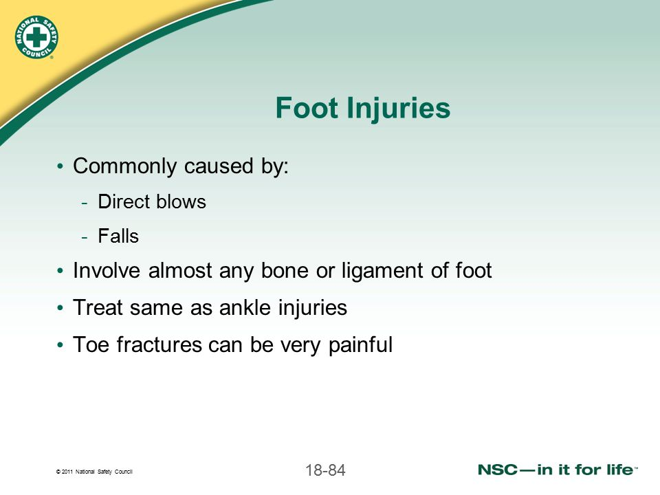 Foot Injuries Commonly caused by: