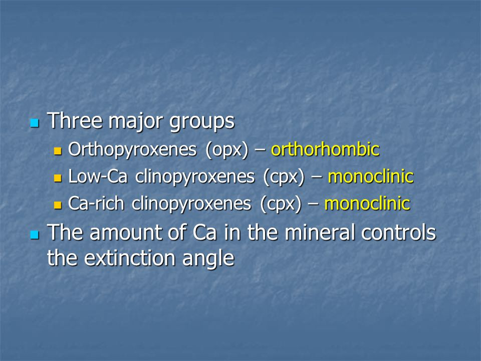 The amount of Ca in the mineral controls the extinction angle