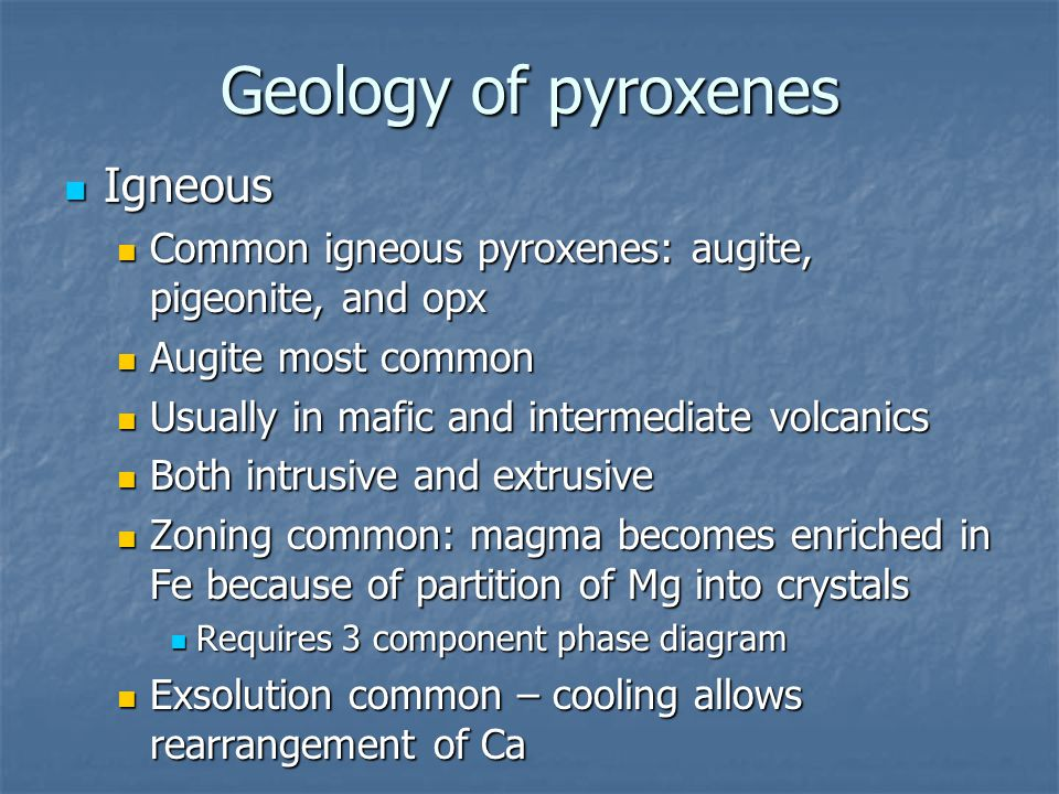 Geology of pyroxenes Igneous