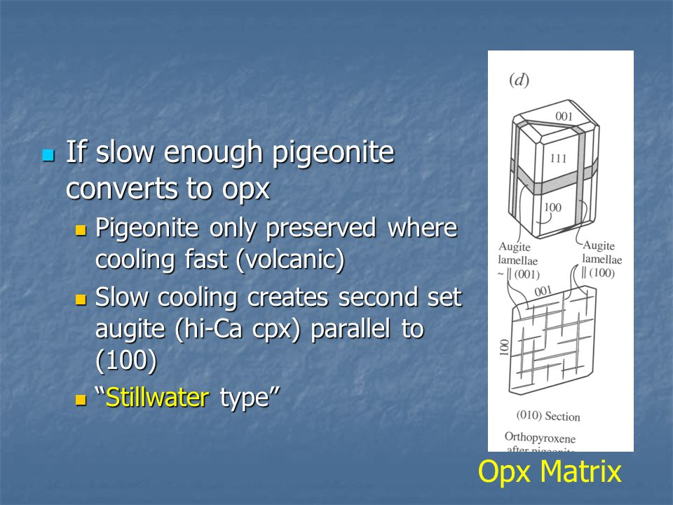 If slow enough pigeonite converts to opx
