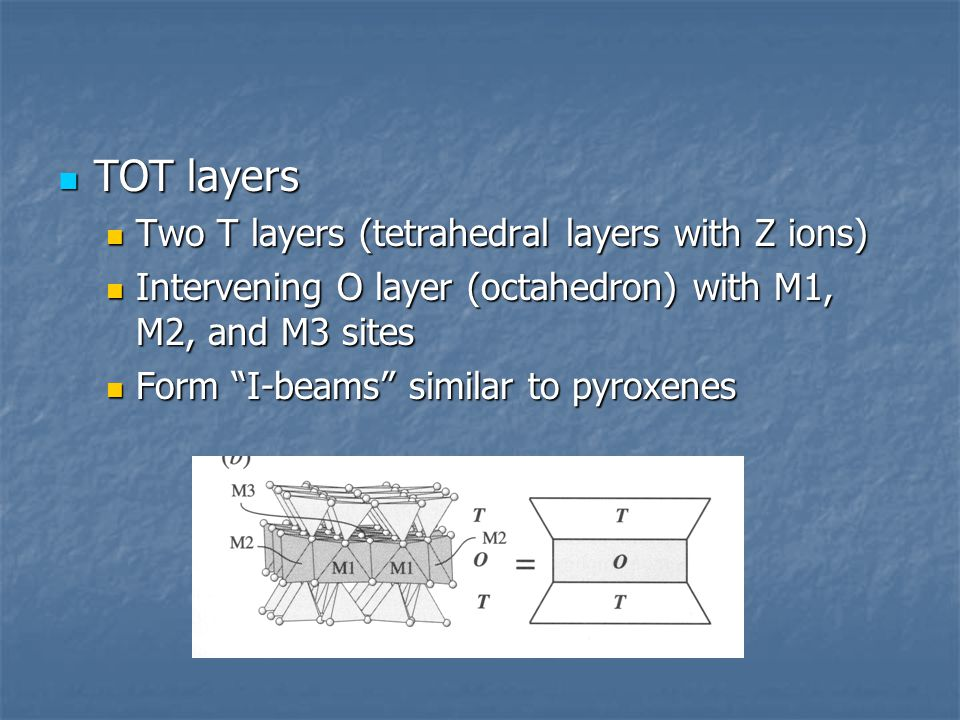 TOT layers Two T layers (tetrahedral layers with Z ions)
