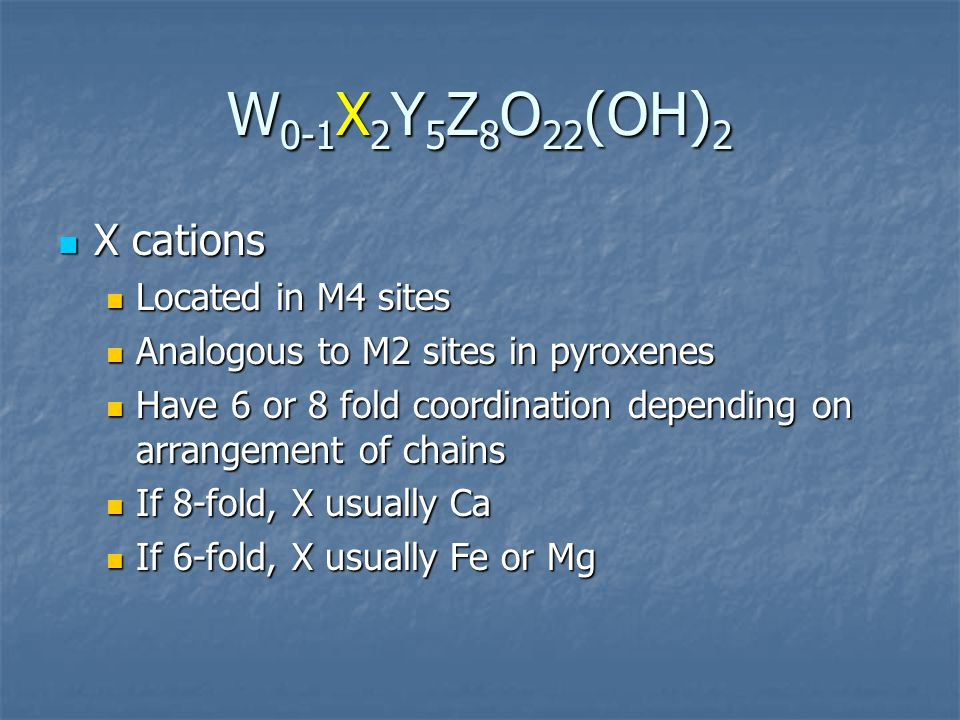 W0-1X2Y5Z8O22(OH)2 X cations Located in M4 sites