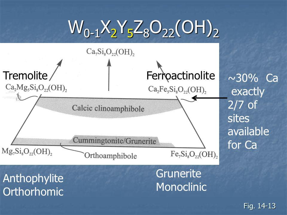 W0-1X2Y5Z8O22(OH)2 Tremolite Ferroactinolite ~30% Ca