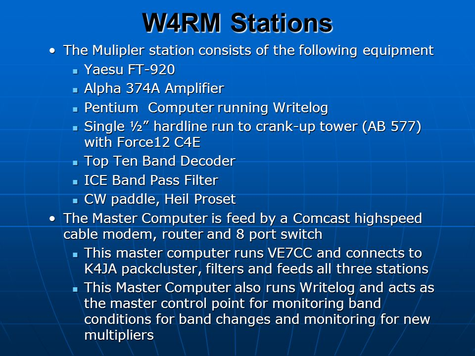 W4RM Stations The Mulipler station consists of the following equipment