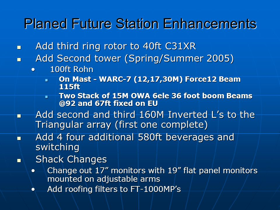Planed Future Station Enhancements
