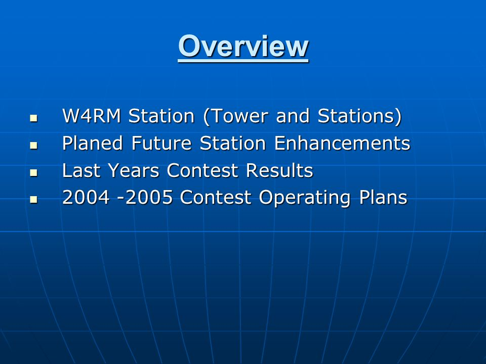 Overview W4RM Station (Tower and Stations)